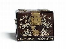 Rare Mother-Of-Pearl Inlaid Traveling Vanity Chest, around 1800