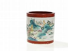 Famille Rose Brush Pot with 'Faux Bois' Décor, Daoguang