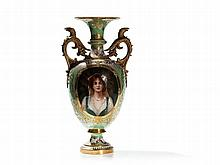 KPM Porcelain Vase with Portrait after Conrad Kiesel, 19th C