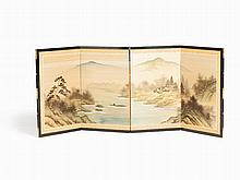 Table Screen with Silk Painting 'River Landscape', Japan, Meiji