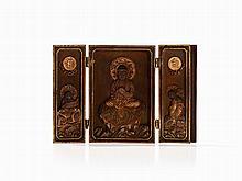 Three Piece Miniature Zushi Shrine with Buddha Amitabha, Meiji