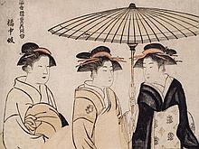 Torii Kiyonaga Color Woodblock Print, Two Geishas, 1782/83
