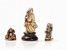 Three Figural Ivory Carvings, Japan, Meiji Period