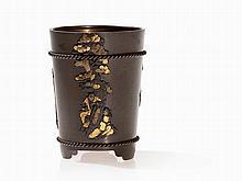 Brush Pot with Shibuichi and Sentoku, Japan, Meiji