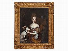 Constantijn Netscher (c.1668-1723), Lady with Whippet, 17th C.