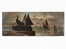 J. Heimbucher, Painting, Sailboats in the Venetian Lagoon, 1904