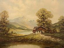 P. Mehner 'Farmhouse in the Mountains', Painting, 20th Century