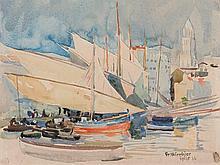 "Watercolour ""Split Harbour"", Friedrich Wirnhier, 1926"