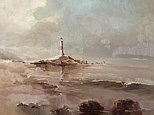 "Rolf Hank ""The Lighthouse"", Oil Painting, late 20th Century"