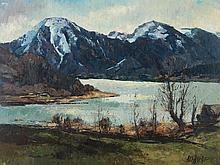 "H. Wallrapp ""View on Tegernsee"",Painting, mid-20th Century"