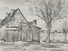 "Charcoal Drawing ""Cottage"", by Matthias Derix, 1935"