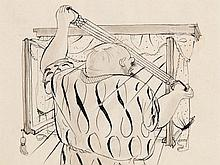 "Ink Drawing ""Morning Sport"", E. Croissant, early 20th Century"