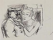"Ink Drawing ""Studies"" by Fritz Burkhardt, around 1930"