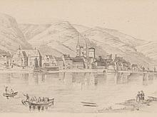 "Drawing ""Boppard at the Rhein"", Germany, around 1850"