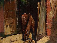 "Circle of J. Moreno Carbonero, Painting ""Rosinante"" around 1900"