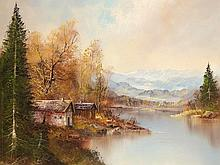R. Ehrmann 'Cottages by a Mountain Lake', 20th Century