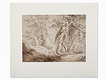 Schaller, Walk in the Forest, Ink Drawing, Germany, 1842