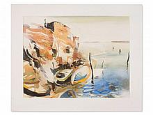 Matthias Schlüter, Watercolor, 'Coast with Fishing Boats', 1994
