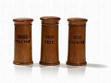 Three Wooden Apothecary Jars, Original Labeling, 19th C