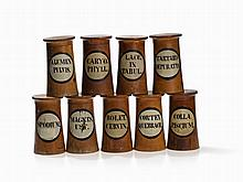 Nine Wooden Apothecary Jars, Original Labeling, 19th C