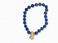 Lapis Lazuli Necklace with 7 diamonds of c. 0.07 Ct, 18K Gold