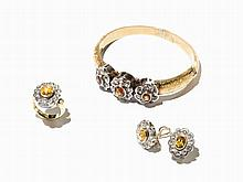 Demi-Parure, Bangle, Ring and Earrings, Citrine