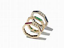 Set of 3 Memory Rings, Sapphires, Rubies and Emeralds, 14K Gold