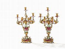 A Pair of Ormolu KPM Candelabras, Seeger Porcelain, c. 1890