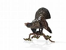 Bergmann Vienna Bronze 'Capercaillie with Branch', around 1950
