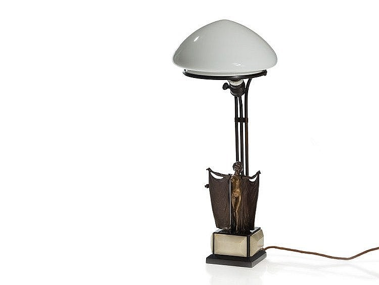Carl Kauba, Lamp with Automata & Vienna Bronze Erotica, 1920s
