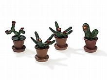 Bergmann Vienna Bronze, 4 Cold-Painted Cactuses, around 1925