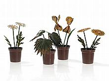 Bergmann Vienna Bronze, Four Cold-Painted Flower Pots, c. 1930