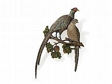 Bergmann Vienna Bronze 'Pheasant Pair' Wall Application, 1950