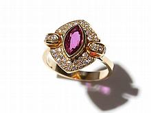 14 carat yellow gold ring with diamonds & marquise-cut ruby