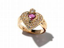 Heart shaped 18 carat yellow gold ring with 28 diamonds & ruby