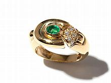 Emerald and diamond 18 carat yellow gold ring by Louis Féraud