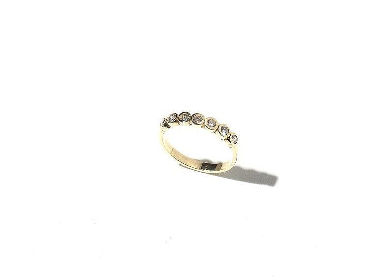 Gold Ring with 7 Brilliants, Total 0.49 Carat, 20th Century