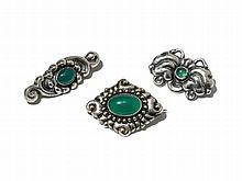 Skonvirke, Three Art Nouveau Silver Brooches, Denmark, c. 1910
