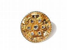 Golden Brooch / Pendant with Rose Cut Diamonds, c. 1970