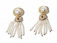 Gold Ear Clips with 70 Diamonds, 2 Rubies & Pearl