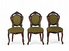 Three Chairs, Upholstery in Green, Louis Philippe, c. 1860