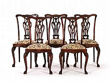 Five Victorian Chippendale Style Dining Chairs, around 1880