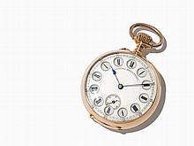 Rare Plate Watch With Jumping Hour, Switzerland, Around 1910
