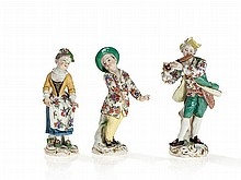 Meissen Porcelain, Three Figurines by Kaendler & Meyer, 18th C