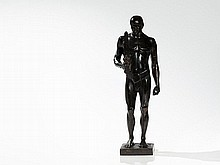 Adolf Brütt, Vigorous Bronze Sculpture 'Swordbearer', 1912