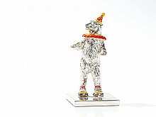 Tiffany Circus Figure 'Bear on Roller Skates', Silver, 1990s