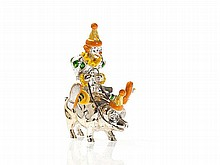 Tiffany Circus Figure 'Clown Riding on a Pig', Silver, 1990s