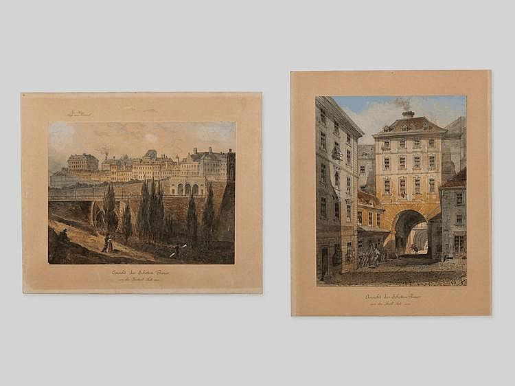 "Pair of Vedute Watercolours ""Vienna Scenes"