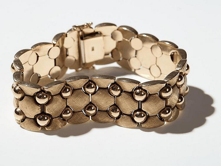 Curb chain bracelet of 14 carat Rose & Yellow Gold, 1960s