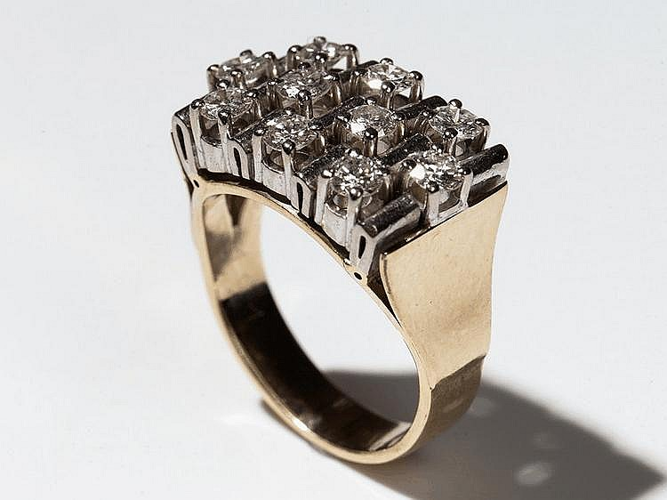 Large 14 carat White & Yellow gold ring with 10 Diamonds, 1960s